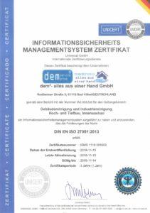 DIN-EN-ISO-27001-Zertifikat