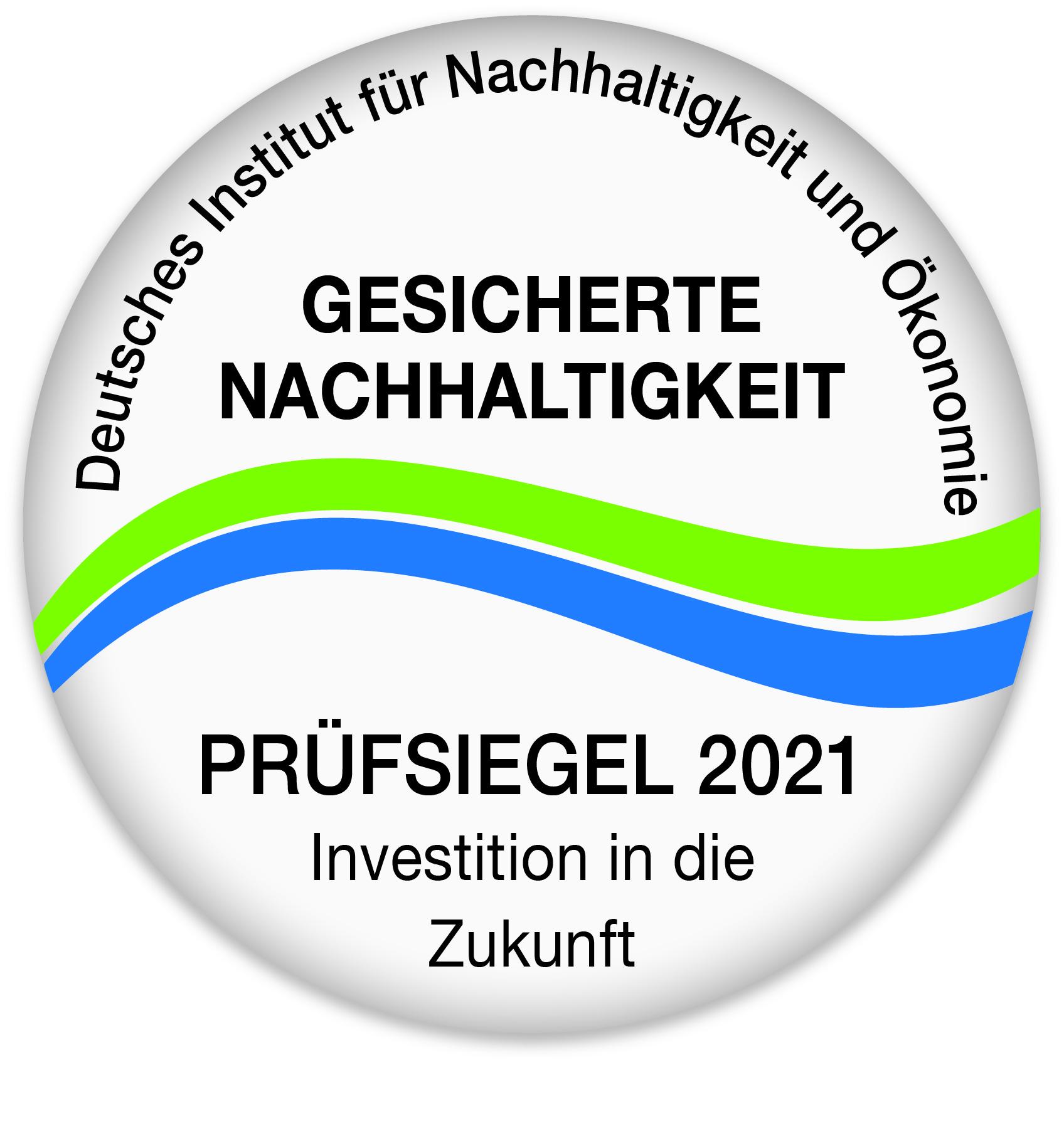 Siegel für Nachhaltigkeit 2021 Deutsch